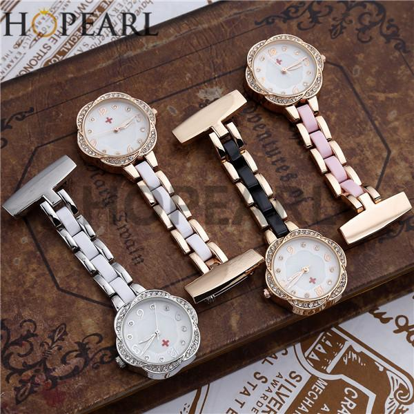 HOPEARL Jewelry Womens Nurse Watch Paramedic Quartz Doctor Pocket Watch Hanging Pin Clip on Brooch 2 Pieces