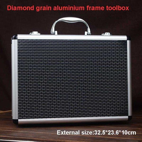 aluminium tool case toolbox file storage carry tool box hand gun key lock case with foam lining 325*236*100 mm thumbnail