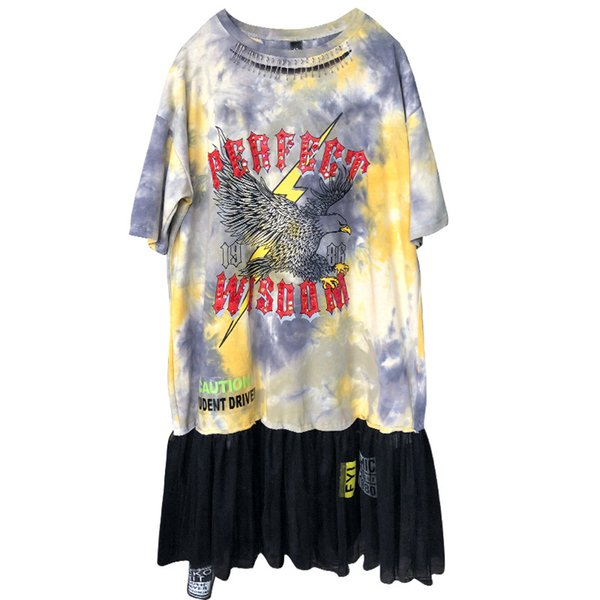 New Fashion Hole T Shirt Dress Women Letter Print Summer Dresses Cartoon Streetwear Mesh Patchwork Dress Club Party Vestidos