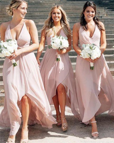 2020 rosado elegante Blush cabestro playa de la gasa vestidos de dama de Elagant Hi-Lo criada del vestido formal largo Prom vestidos de noche
