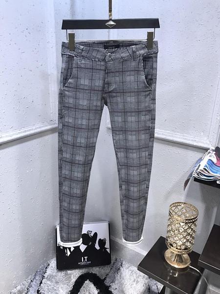 HOT College style FAMOUS BRAND Grid cloth MEN'S WASHED DESIGN CASUAL SLIM SUMMER LIGHTWEIGHT DENIM STRETCH DENIM SKINNY JEANS PANTS
