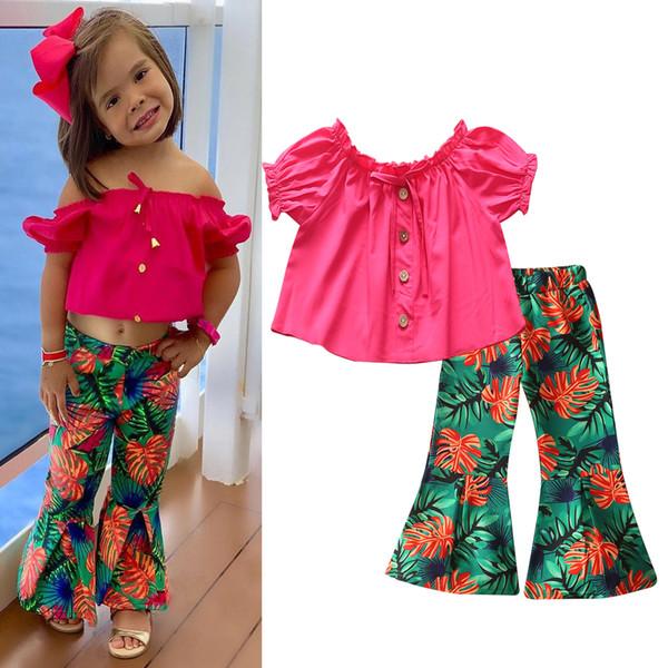 Mignonne petite fille Tops + pantalon évasé Enfants Deux pièces Ensemble manches courtes enfants Ensembles Casual Mode Tendance Toddler Suits