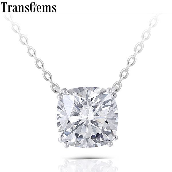 Transgems Solid 14k 585 White Gold 2ct 7.5mm Cushion Cut F Color Moissanite Pendant Necklace For Women Wedding Gift Classic Type J 190427