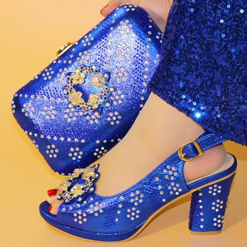 Hochzeitsschuhe Großhandel Schuhe Schuh Afrikanische Italienischen Tasche Blaue Passenden Passend Set Zu Schöne Und OuPZiTkX