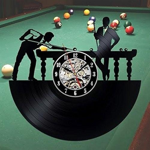 top popular Billiards Art Record Clock Wall Decoration Modern Vintage Home Decor Handmade Art Personality Gift (Size: 12 inches, Color: Black) 2020