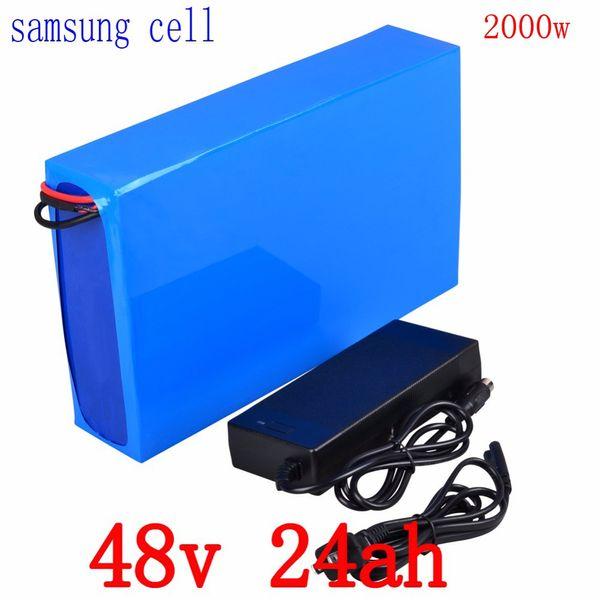 Батарея велосипеда 48v 25ah батарея лития 48v 24ah использует элемент samsung с 50A BMS + 54.6V 2A заряжатель для 1000W 2000W мотора