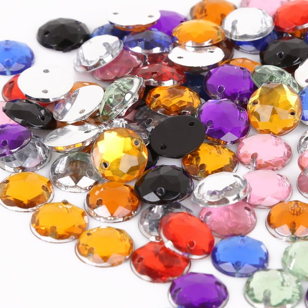Sewing Flatback Rhinestones 10mm Round Acrylic Beads Sew On Strass Crystal Stones For Clothes Decoration DIY Crafts 500Pcs