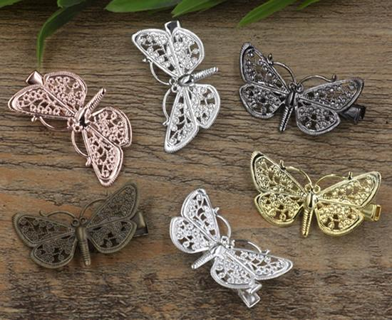 20pcs 35/25*43mm Rose Gold French barrettes dragonfly hair pin Alligator clip bronze hairpin silver hairclip antique hairwear jewelry