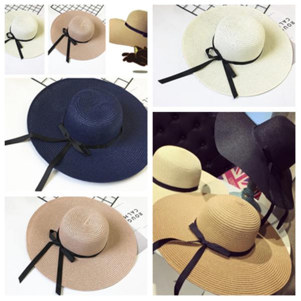 2019 elegante koreanische Version Strohhut UV-Schutz Damen Bowknot Sonnenhut Mode Kuppel Strand Hut Party HatsT2C5028