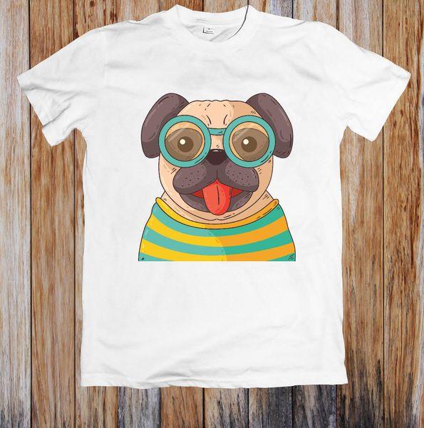 PUG WITH GLASSES UNISEX T-SHIRT Colour Jersey Print T Shirt RETRO VINTAGE Classic T-shirt