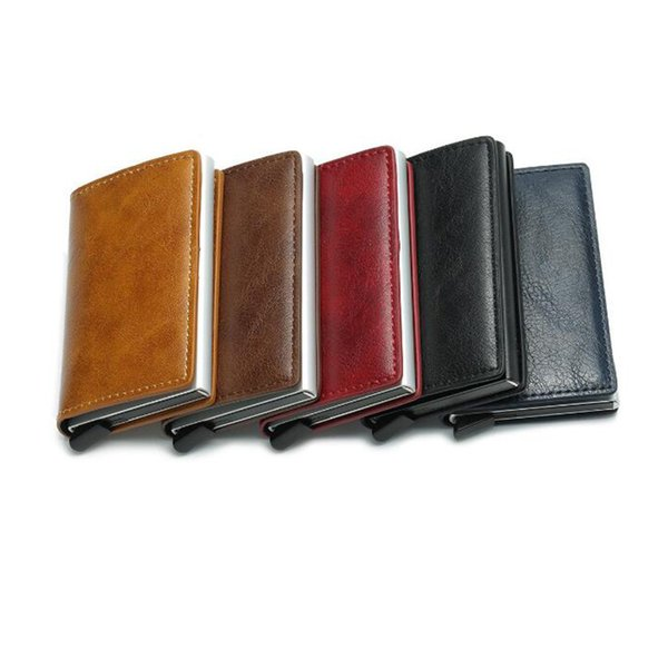 Antitheft Men Vintage Credit Card Holder Blocking Rfid Wallet Leather Unisex Security Information Aluminum Metal Purse