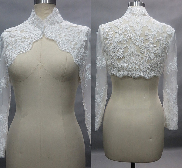High Neck Long Sleeve Lace Bolero Jacket For Wedding 2019 Hollow Back Bridal Dress Jackets For Evening Prom Party
