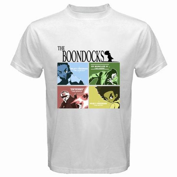 Novo The Boondocks Animated Cartoon TV Show T-Shirt Dos Homens de Branco Tamanho S para 3XL
