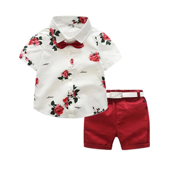Boys Clothing Sets Summer Gentleman Suits Short Sleeve Shirt + Shorts + Belt 3pcs Kids Clothes Children Set For 2-7 Years J190513
