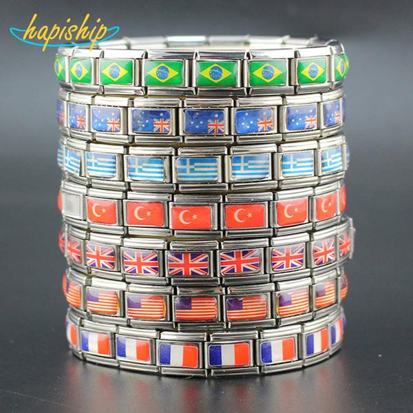 Hapiship 7 Style Fashion Jewelry USA / UK / DE / AU / TR / GR Bandiera nazionale Bracciale in acciaio inossidabile Bracciale per donna Spedizione gratuita GGQ