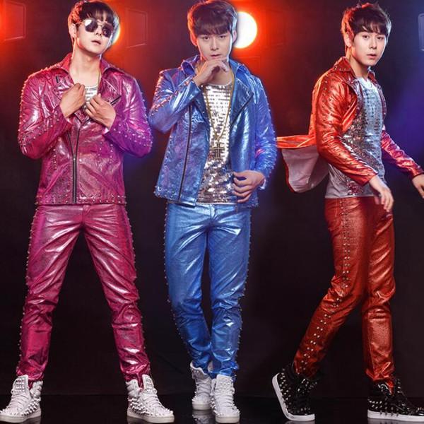 Diagonal zipper rivet clothes men suits designs stage costumes for singers leather jacket men sequins blazer dance star style