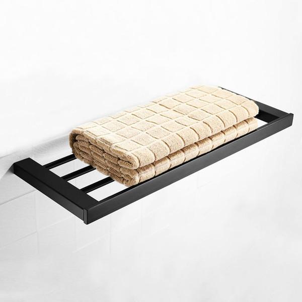 Porte-serviette accessoires de salle de bains 304 acier inoxydable porte-serviette mural noir carré