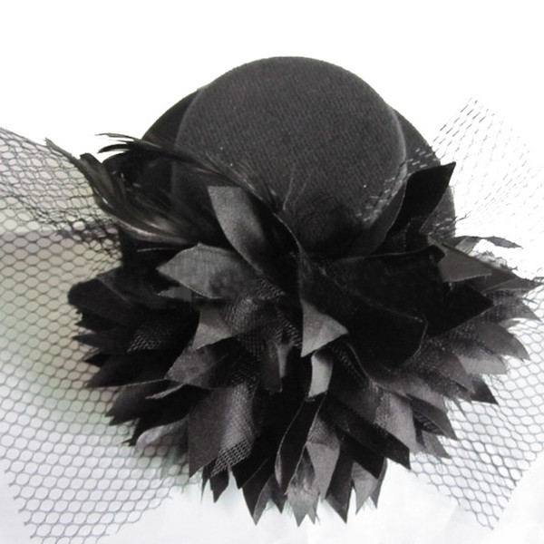 1Pc New Fashion Women Lady Mini Top Hat Hairclip with Flower for Party/Weeding/Cosplay Hair Accessories