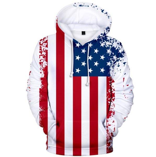 2019 nova venda quente EUA Independence Day impressão digital com capuz homens e mulheres camisola do hoodie frete grátis