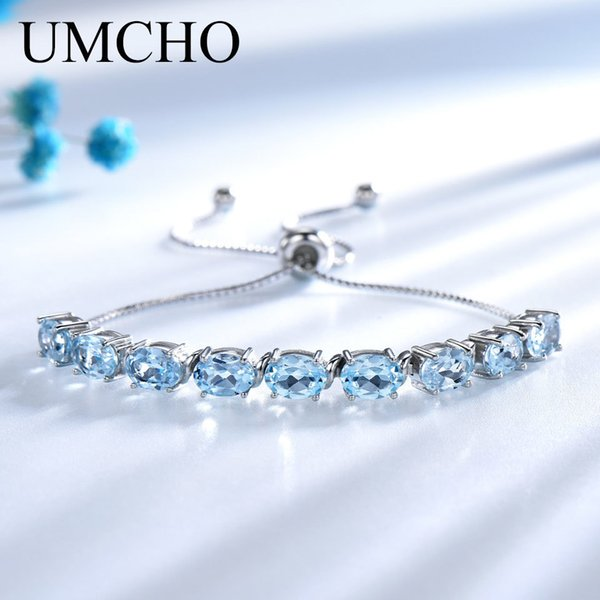 Umcho 9ct Natural Sky Blue Topaz Aquamarine 925 Sterling Silver Chain Link Bracelets For Women Fine Jewelry Adjustable Bracelet Y19061003