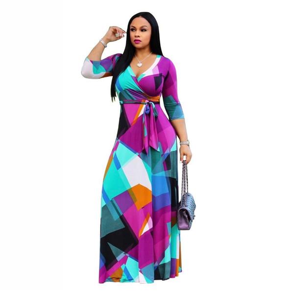 Haoohu5xl Long Maxi Dress Print Plus Size Sexy Casual Summer Beach Clothes Women Vestidos Elegant Robe Boho Party Club Dress J190511