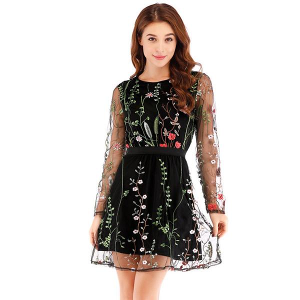 Sexy Women Floral Embroidery Dress Sheer Mesh Summer Boho A-line Dress See-through Black 2018 Christmas Vestidos De Festa
