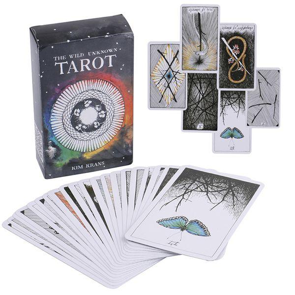 78Pcs / 설정 와일드 알 수없는 타로 카드 신비한 동물 토템 타로 카드 안내 보드 게임 타로 갑판 보드 게임 카드 GSS343