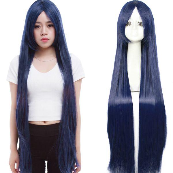 Fahion Women Long Dark Blue Straight Anime Cosplay Party Wigs Hair Full Wig