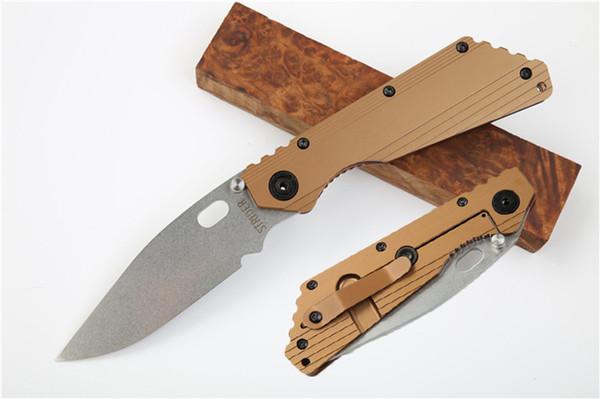 Бесплатная DHL High End Версия Strider SMF Складной Нож D2 58-60HRC Лезвие против скольжения Титанового Сплава TC4 Ручка Выживания Спасательный Подарок Нож P807Q A