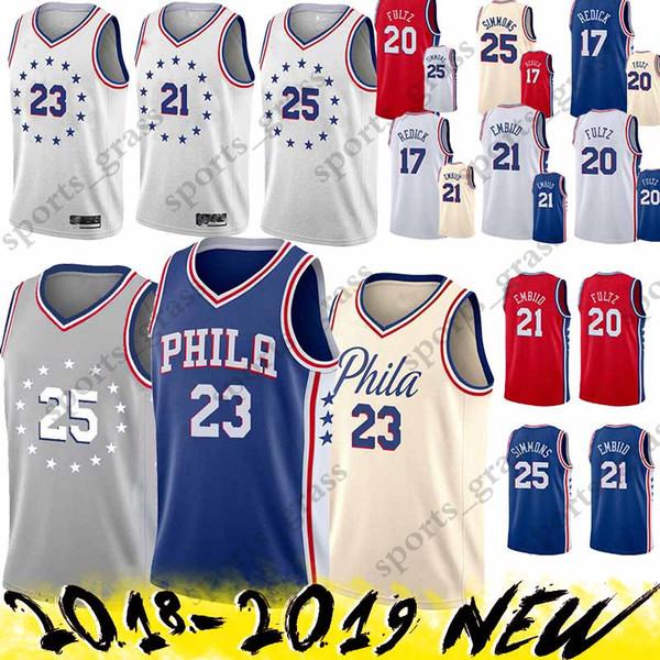 a4801eba1850 Ben 25 Simmons Jerseys Jimmy 23 Butler Joel 21 Embiid Jersey 18 19 new Top  quality Earned Edition
