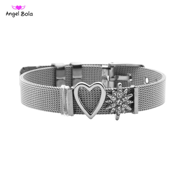 Romantic Jewelry Rose Gold Heart & Star Mesh Bracelet Set Stainless Steel Bangle As Valentines Gift for Women Crystal Bracelet
