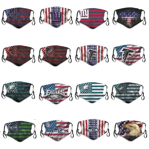 2020 new 5 layer dust mask men and women boys football team seahawks eagles cardinals falcons giants fashion ice hockey breathable mask