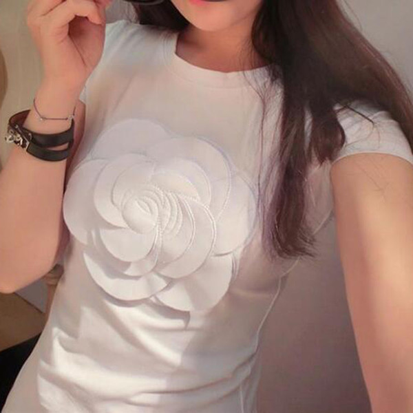 Prevalent Women Summer 3d Camellia Embroidery Luxury T-shirt Ladies Fashion Tops Slim Casual Vetement Female Tee