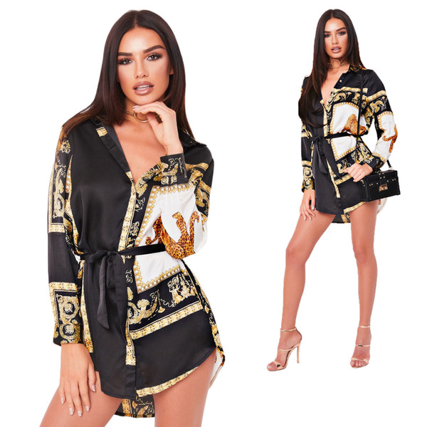 Women Casual Shirt Dress Plus Size Clothing Long Sleeved Floral Dresses Luxury Female Vestidoes Dress