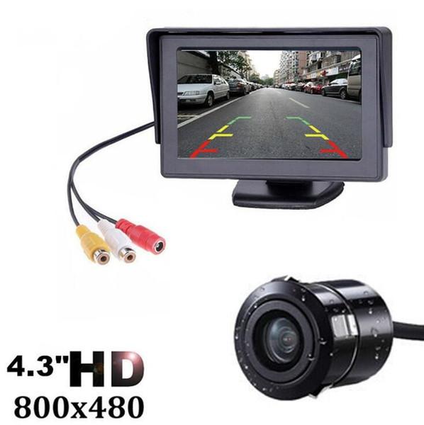 2019- 4.3 Inç TFT LCD Araç Monitör Ekran Kablosuz Kameralar Araba Dikiz Monitörleri için Kamera Ters Park Sistemi