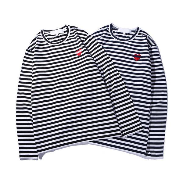Diseñador de moda para hombre, camiseta bordada, corazón pequeño, camiseta de manga larga para hombres y mujeres con camisa de fondo, cuello redondo, estilo casual.