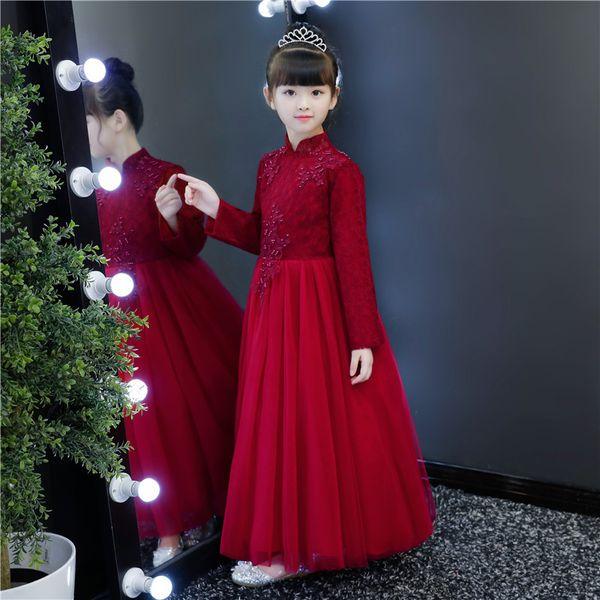 Elegant Chinese Style Kids Flower Girl DressTeens Teenage Burgundy Long Sleeves Floral Puffy Cute Birthday Banquet Formal Gowns