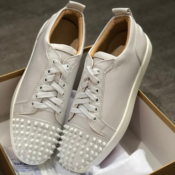 NEW 2019 Designer-Turnschuhe Rote untere Schuh Low Cut Suede Spike Luxus-Schuhe für Herren-Frauen-Schuh-Partei-Hochzeit Kristall Leder Turnschuhe XC3