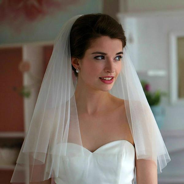 Fengyudress Ucuz Beyaz / Fildişi Kısa 2 Katmanlar Ile Cut Kenar Tül Düğün Peçe Tarak Womens 'Gelin Aksesuar