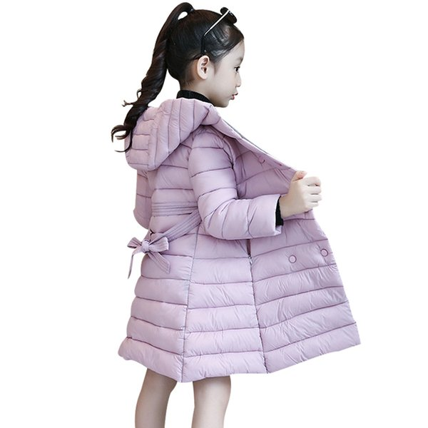 Dress For Girls Long Winter Jacket For Kids Children's Fashion Cotton Padded Clothes Girl's Warm Coat Christmas Outerwear 4-12T