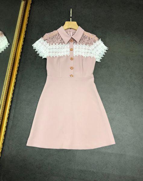 2019 vestidos de mujer de marca rosa sexy solapa costura de encaje de diamantes vestido delgado hueco damas vestidos casuales ropa de mujer de alta calidad MA-2