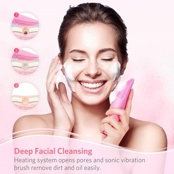Moreslan Silicone Waterproof Sonic Facial Brush Pincel de limpieza Facial Limpiador de piel Exfoliante 7 velocidades Blackhead Eliminar todos los tipos de piel