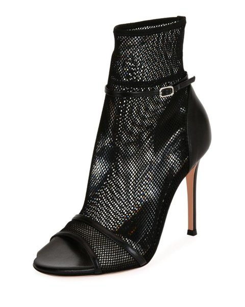 Black Peep Toe Women Thin High Heel Mesh Boots Sexy Fish-net Summer Sandals Booties Nude Ankle Strap Design Ladies Dress Shoes