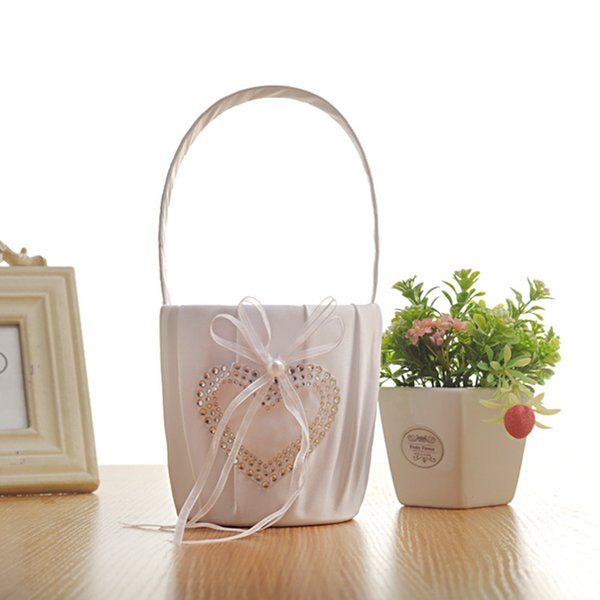 White Handmade Flower Girl Basket for Wedding Decoration Party Ceremony Festival DIY Bowknot Satin Basket Wedding Supplies