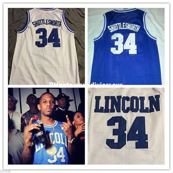 Cheap Customize Jesus Shuttlesworth #34 Ray Allen Lincoln He Got Game Movie Basketball Jerseys White Blue XS-5XL
