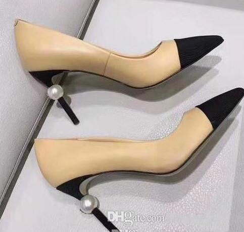 Perle Talons Hauts Femmes Pantoufles En Cuir Beige Sandales Noires Talons Défilé Pompes Femme Robe De Bal Chaussures Livraison Gratuite