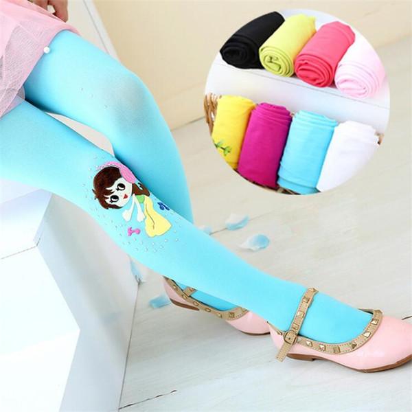 Kids Girls Leggings 8 Colors Candy Color 3-16t Girls Velour Elastic Leggings Kids Dance Socks Kids Designer Clothes Girls Pantyhose SS173