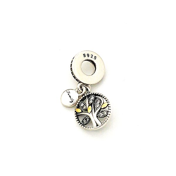 Fashion 925 Sterling Silver Family tree Cubic Zircon Charms fit for Beads Bracelet Pendant Jewelry charms for jewelry making