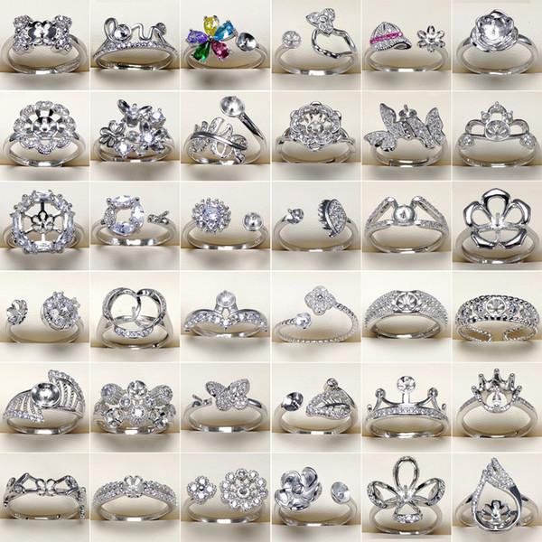 DIY Perle Ring Einstellungen 925 Silber Ringe 45 Stile Zirkon Ring für Frauen Mädchen Ring Edlen Schmuck Einstellbare Valentinstag Geschenk
