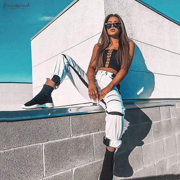 Blanc Streetwear Cargo Pantalon à jambe large Femme Joggers Femmes Pantalon taille haute noir loose Pantalon 2019 Plus Size __gVirt_NP_NN_NNPS<__